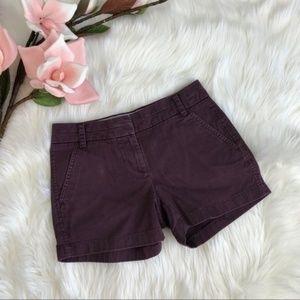 J. Crew Purple Cotton Chino 4 Inch Shorts
